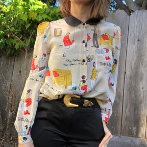 Kate Spade printed silk Peter Pan collar blouse